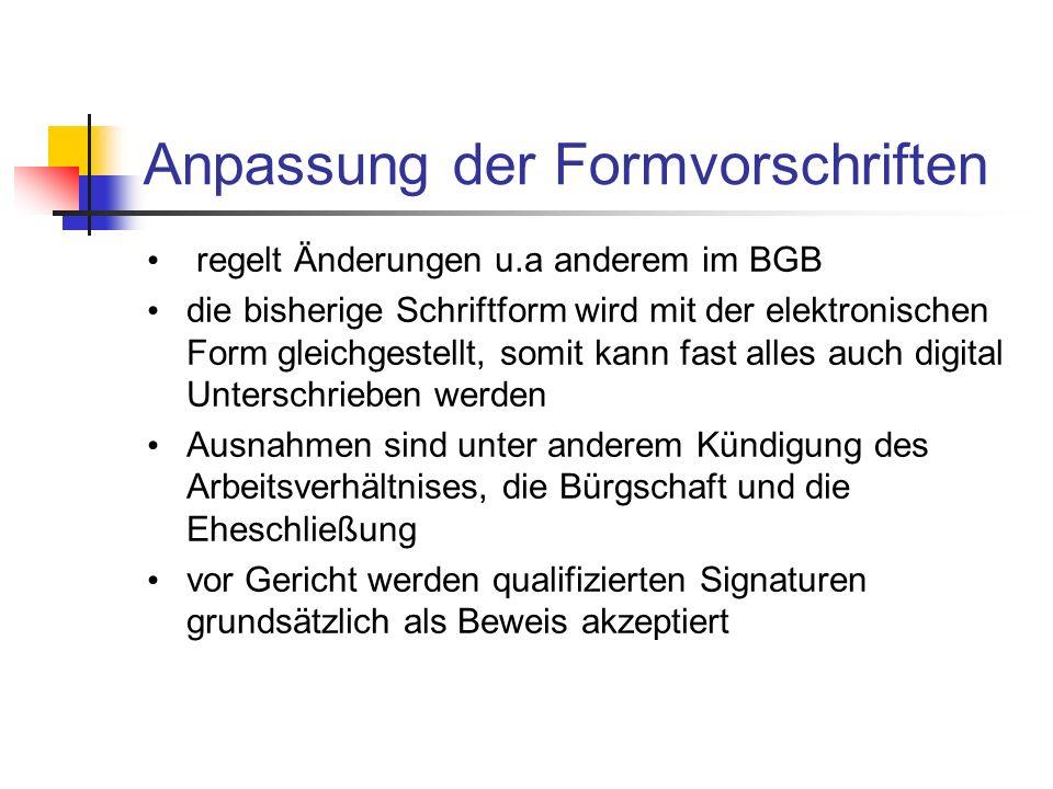 Anpassung der Formvorschriften regelt Änderungen u.a anderem im BGB die bisherige Schriftform wird mit der elektronischen Form gleichgestellt, somit k