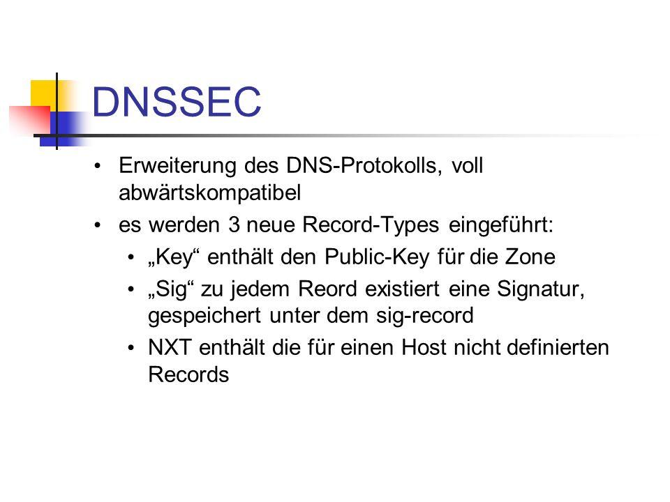 DNSSEC Erweiterung des DNS-Protokolls, voll abwärtskompatibel es werden 3 neue Record-Types eingeführt: Key enthält den Public-Key für die Zone Sig zu