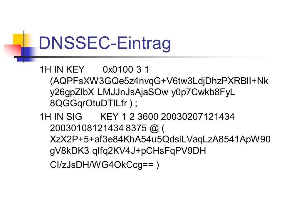 DNSSEC-Eintrag 1H IN KEY 0x0100 3 1 (AQPFsXW3GQe5z4nvqG+V6tw3LdjDhzPXRBlI+Nk y26gpZlbX LMJJnJsAjaSOw y0p7Cwkb8FyL 8QGGqrOtuDTILfr ) ; 1H IN SIG KEY 1