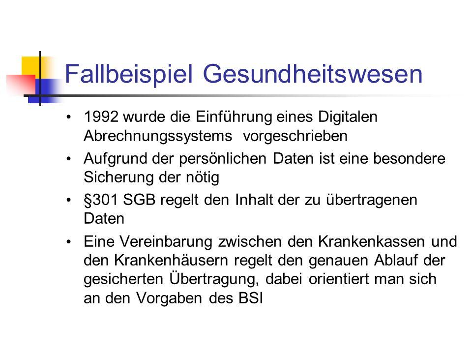 Fallbeispiel Gesundheitswesen 1992 wurde die Einführung eines Digitalen Abrechnungssystems vorgeschrieben Aufgrund der persönlichen Daten ist eine bes