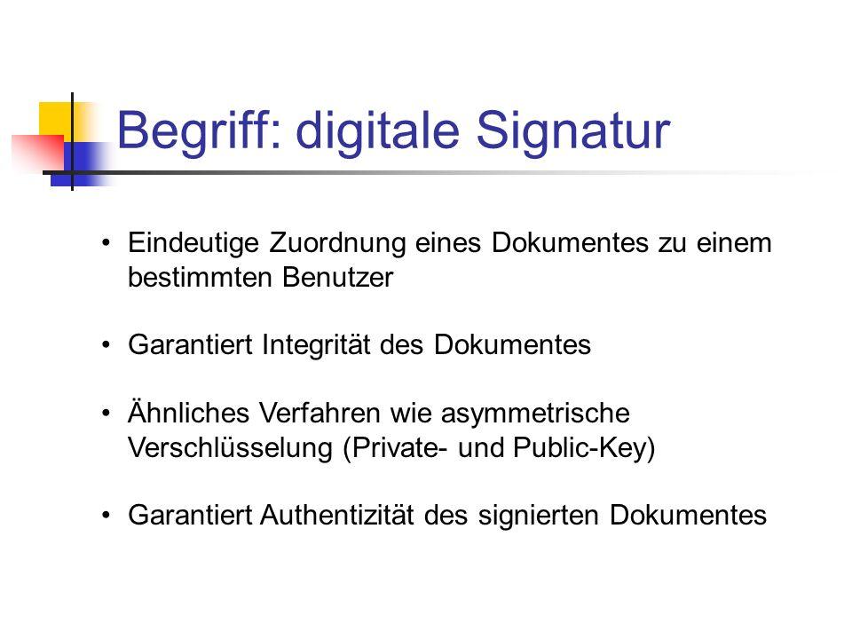 Eindeutige Zuordnung eines Dokumentes zu einem bestimmten Benutzer Garantiert Integrität des Dokumentes Ähnliches Verfahren wie asymmetrische Verschlü