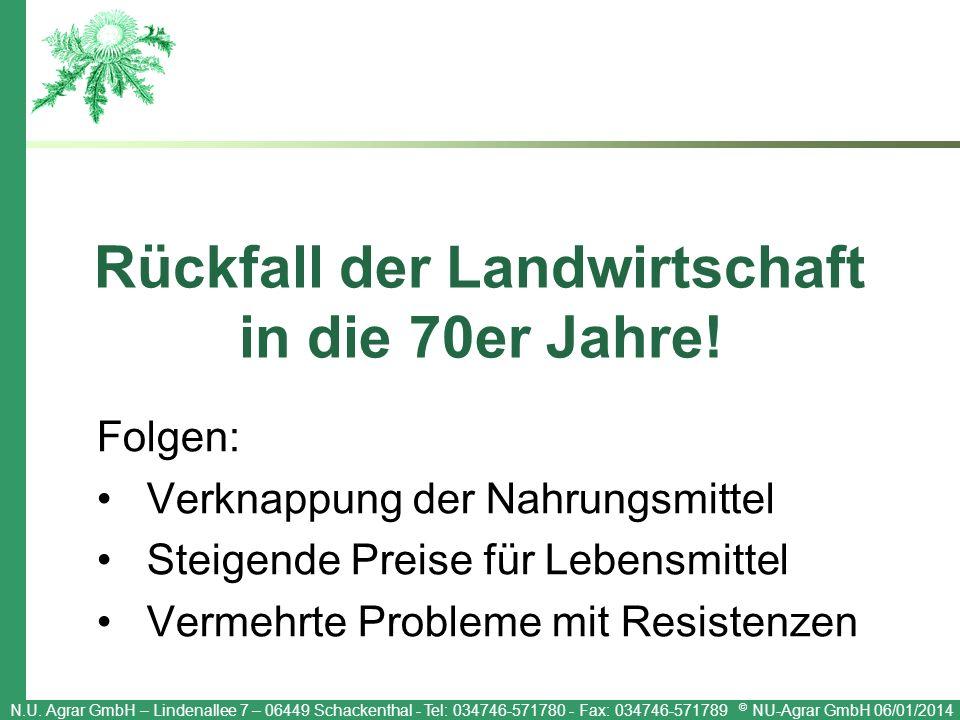 N.U. Agrar GmbH – Lindenallee 7 – 06449 Schackenthal - Tel: 034746-571780 - Fax: 034746-571789 © NU-Agrar GmbH 06/01/2014 Rückfall der Landwirtschaft