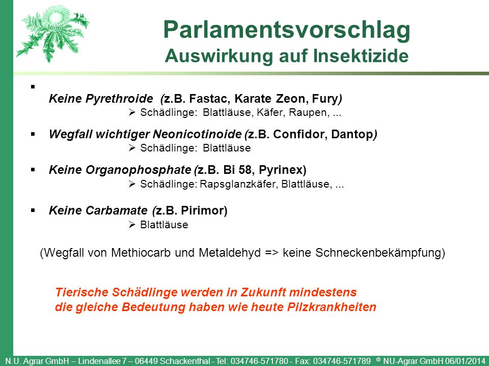 N.U. Agrar GmbH – Lindenallee 7 – 06449 Schackenthal - Tel: 034746-571780 - Fax: 034746-571789 © NU-Agrar GmbH 06/01/2014 Parlamentsvorschlag Auswirku