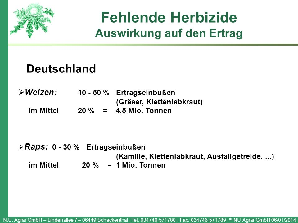 N.U. Agrar GmbH – Lindenallee 7 – 06449 Schackenthal - Tel: 034746-571780 - Fax: 034746-571789 © NU-Agrar GmbH 06/01/2014 Fehlende Herbizide Auswirkun