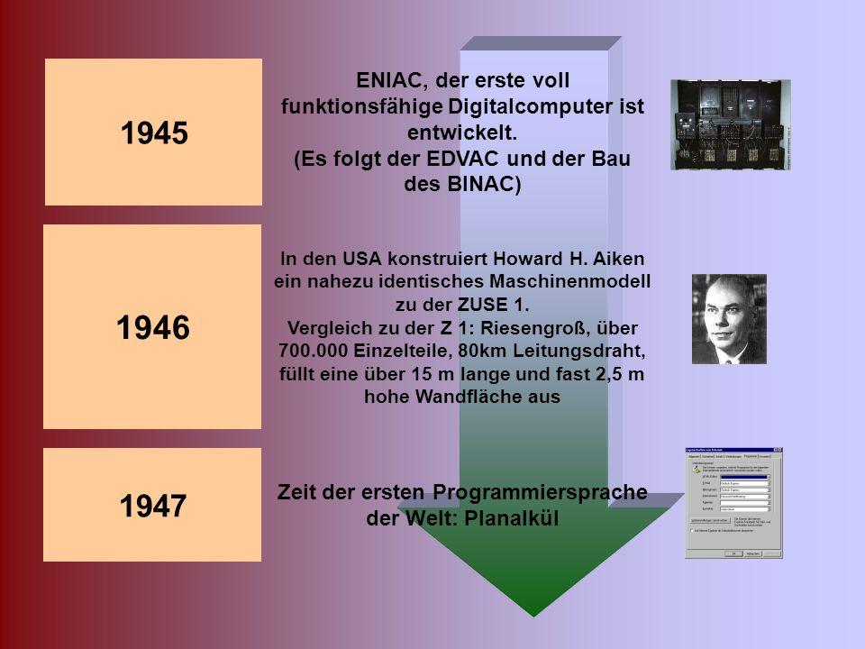 1939-1945 Entwicklung der ersten Digitalcomputer während des zweiten Weltkrieges 1941 Z 3 folgt, der erste betriebsfähige programmgesteuerte, mit 2600