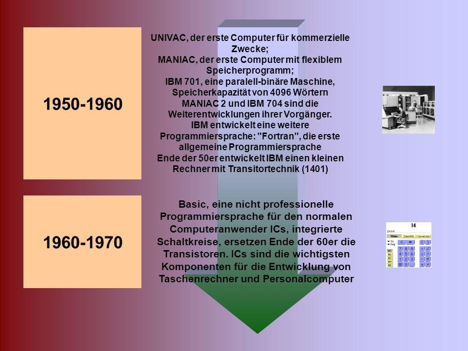 1945 ENIAC, der erste voll funktionsfähige Digitalcomputer ist entwickelt. (Es folgt der EDVAC und der Bau des BINAC) 1946 In den USA konstruiert Howa