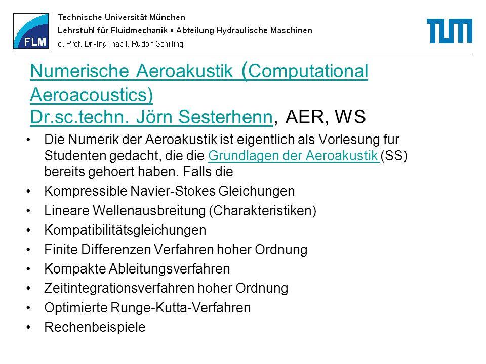 Numerische Aeroakustik ( Computational Aeroacoustics) Dr.sc.techn. Jörn SesterhennNumerische Aeroakustik ( Computational Aeroacoustics) Dr.sc.techn. J