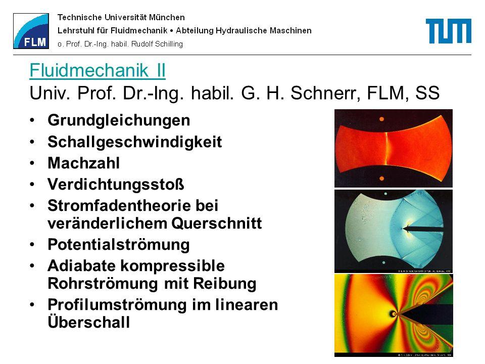 Fluidmechanik II Fluidmechanik II Univ. Prof. Dr.-Ing. habil. G. H. Schnerr, FLM, SS Grundgleichungen Schallgeschwindigkeit Machzahl Verdichtungsstoß