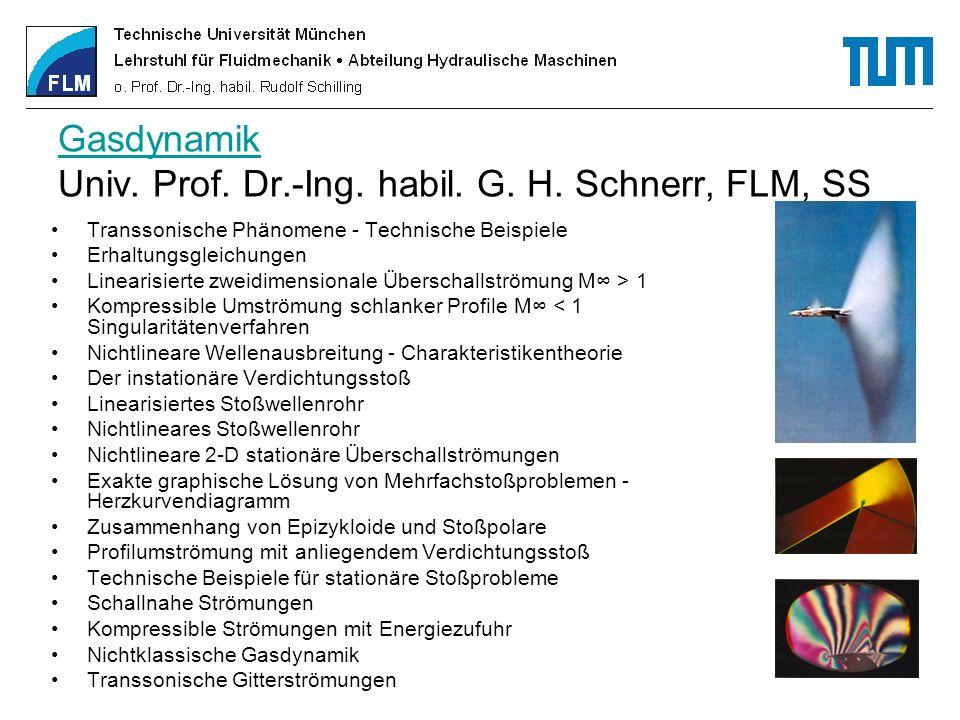 Gasdynamik Gasdynamik Univ. Prof. Dr.-Ing. habil. G. H. Schnerr, FLM, SS Transsonische Phänomene - Technische Beispiele Erhaltungsgleichungen Linearis