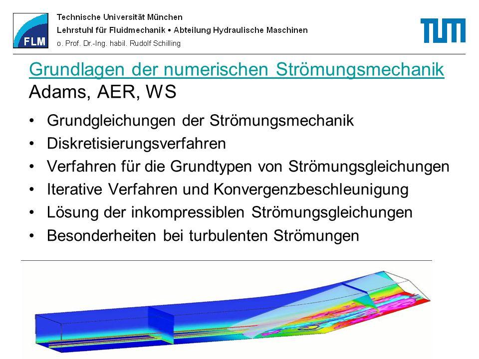 Grundlagen der numerischen Strömungsmechanik Grundlagen der numerischen Strömungsmechanik Adams, AER, WS Grundgleichungen der Strömungsmechanik Diskre