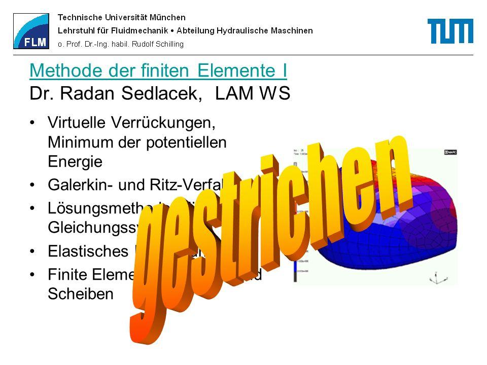 Methode der finiten Elemente I Methode der finiten Elemente I Dr. Radan Sedlacek, LAM WS Virtuelle Verrückungen, Minimum der potentiellen Energie Gale