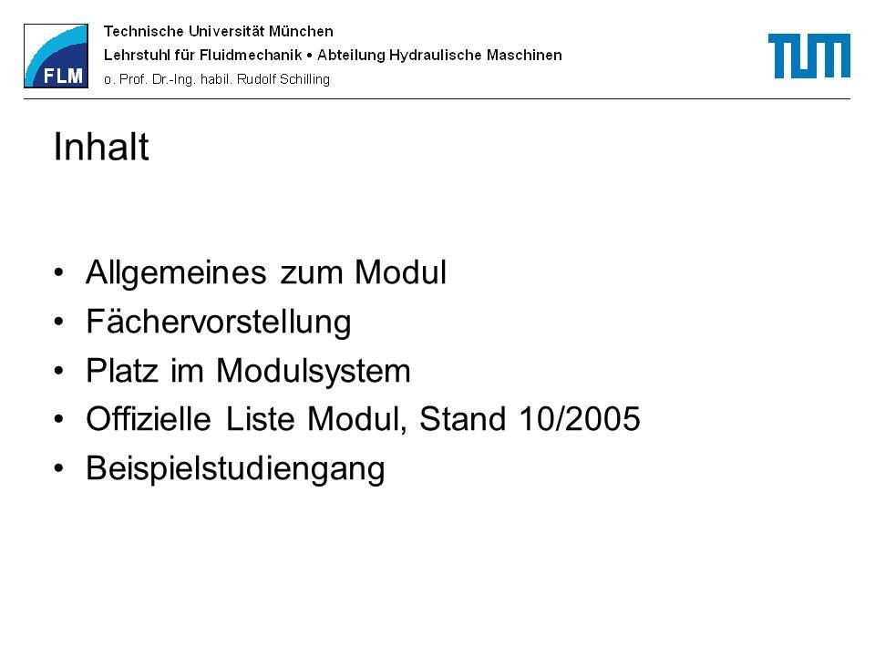 Inhalt Allgemeines zum Modul Fächervorstellung Platz im Modulsystem Offizielle Liste Modul, Stand 10/2005 Beispielstudiengang