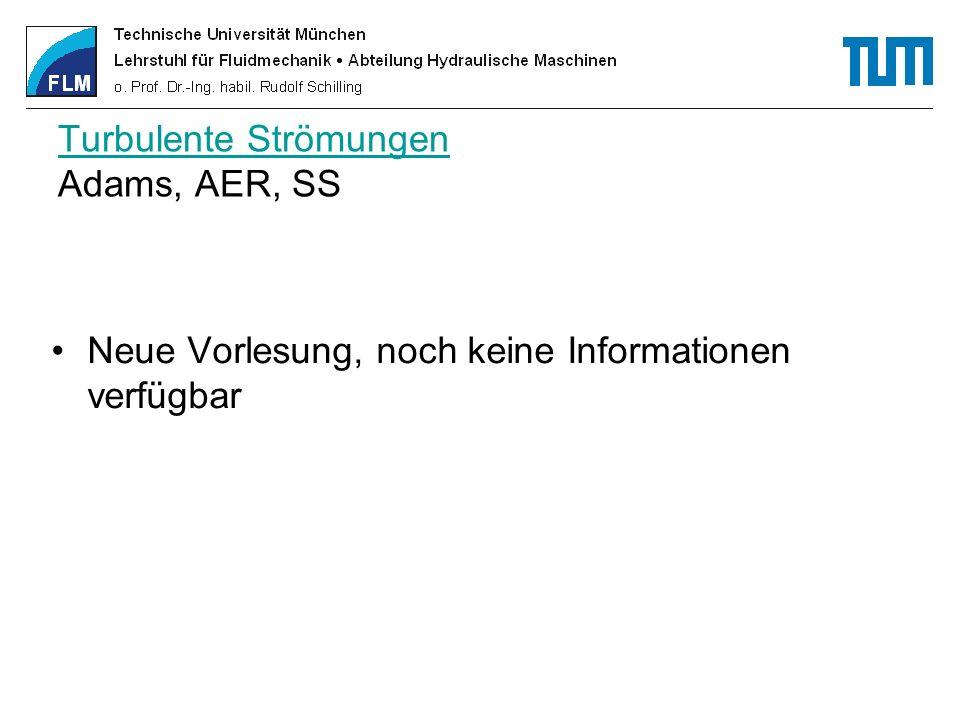 Turbulente Strömungen Turbulente Strömungen Adams, AER, SS Neue Vorlesung, noch keine Informationen verfügbar