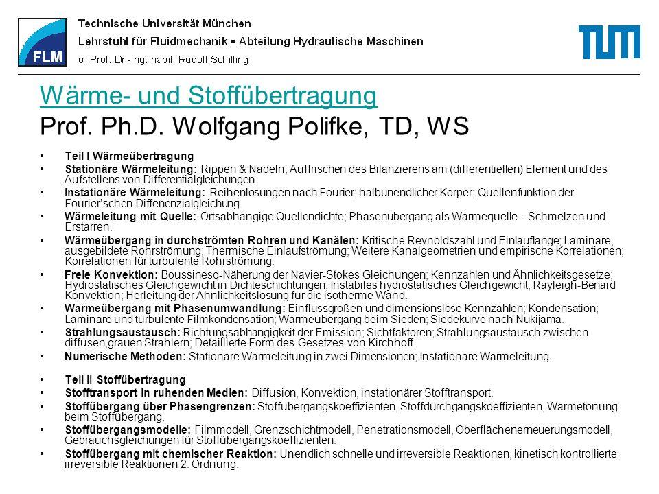 Wärme- und Stoffübertragung Wärme- und Stoffübertragung Prof. Ph.D. Wolfgang Polifke, TD, WS Teil I Wärmeübertragung Stationäre Wärmeleitung: Rippen &