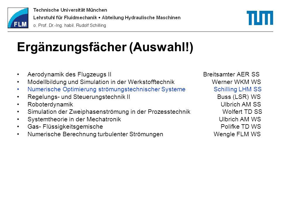 Ergänzungsfächer (Auswahl!) Aerodynamik des Flugzeugs II Breitsamter AER SS Modellbildung und Simulation in der Werkstofftechnik Werner WKM WS Numeris