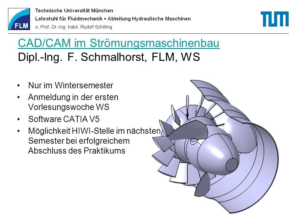 CAD/CAM im Strömungsmaschinenbau CAD/CAM im Strömungsmaschinenbau Dipl.-Ing. F. Schmalhorst, FLM, WS Nur im Wintersemester Anmeldung in der ersten Vor