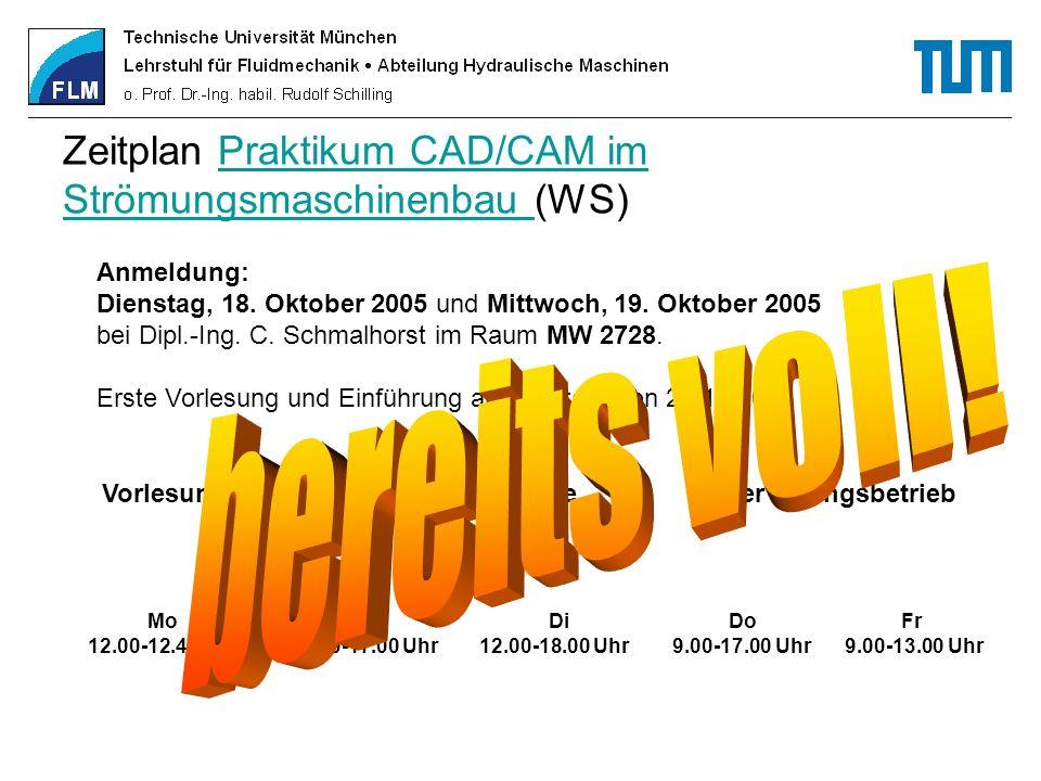 Weitere CAD-Praktika der Fakultät Maschinenwesen PE - Lehrstuhl für Produktentwicklung (Prof.