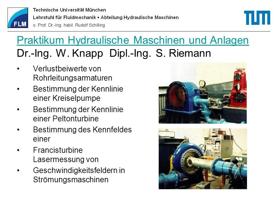 Praktikum Hydraulische Maschinen und Anlagen Praktikum Hydraulische Maschinen und Anlagen Dr.-Ing. W. Knapp Dipl.-Ing. S. Riemann Verlustbeiwerte von