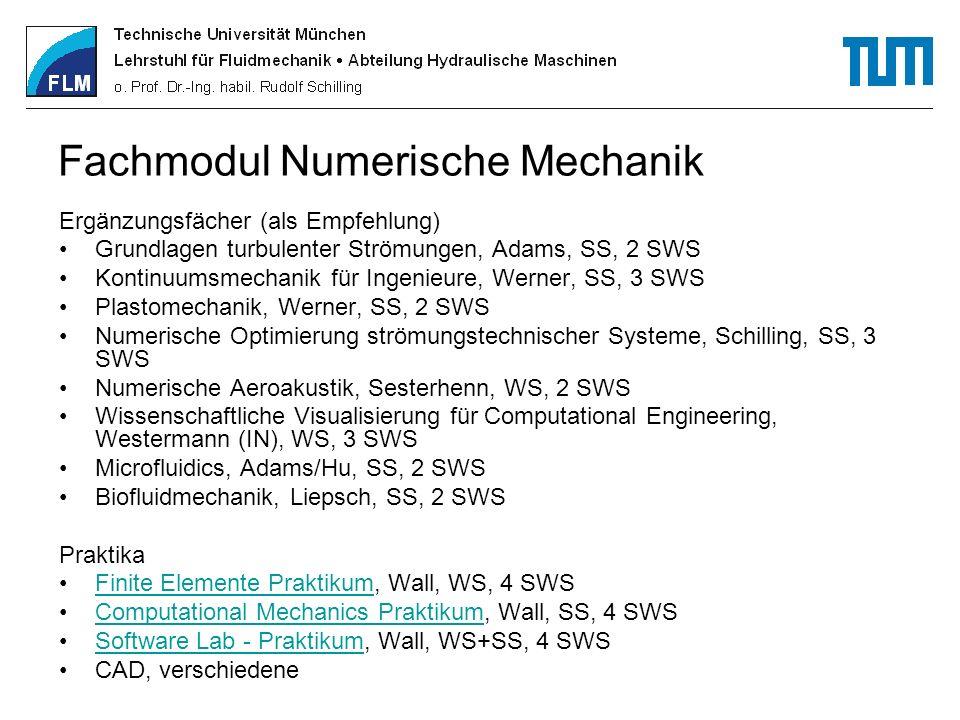 Fachmodul Numerische Mechanik Ergänzungsfächer (als Empfehlung) Grundlagen turbulenter Strömungen, Adams, SS, 2 SWS Kontinuumsmechanik für Ingenieure,