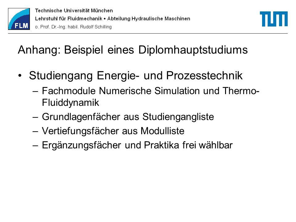 Anhang: Beispiel eines Diplomhauptstudiums Studiengang Energie- und Prozesstechnik –Fachmodule Numerische Simulation und Thermo- Fluiddynamik –Grundla