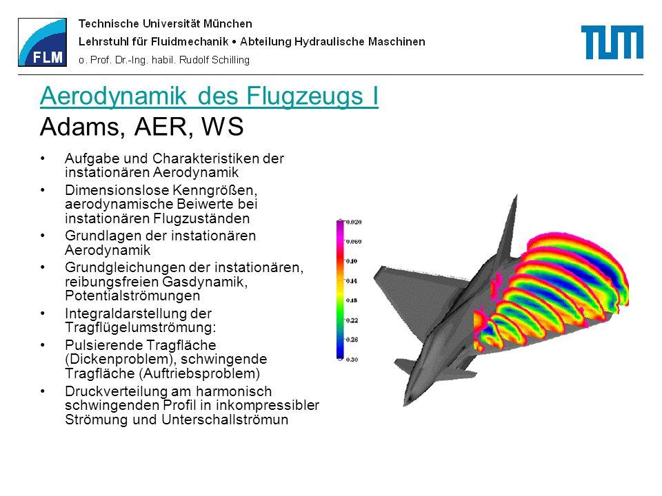 Aerodynamik des Flugzeugs I Aerodynamik des Flugzeugs I Adams, AER, WS Aufgabe und Charakteristiken der instationären Aerodynamik Dimensionslose Kenng