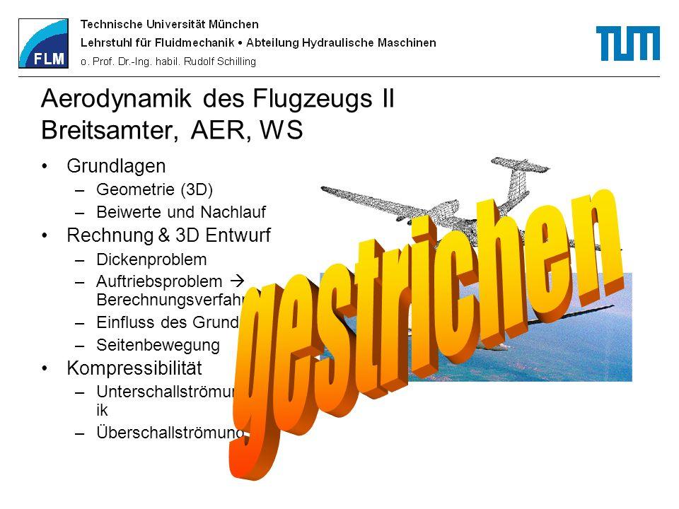 Aerodynamik des Flugzeugs II Breitsamter, AER, WS Grundlagen –Geometrie (3D) –Beiwerte und Nachlauf Rechnung & 3D Entwurf –Dickenproblem –Auftriebspro