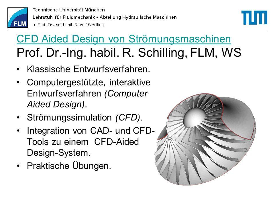 CFD Aided Design von Strömungsmaschinen CFD Aided Design von Strömungsmaschinen Prof. Dr.-Ing. habil. R. Schilling, FLM, WS Klassische Entwurfsverfahr