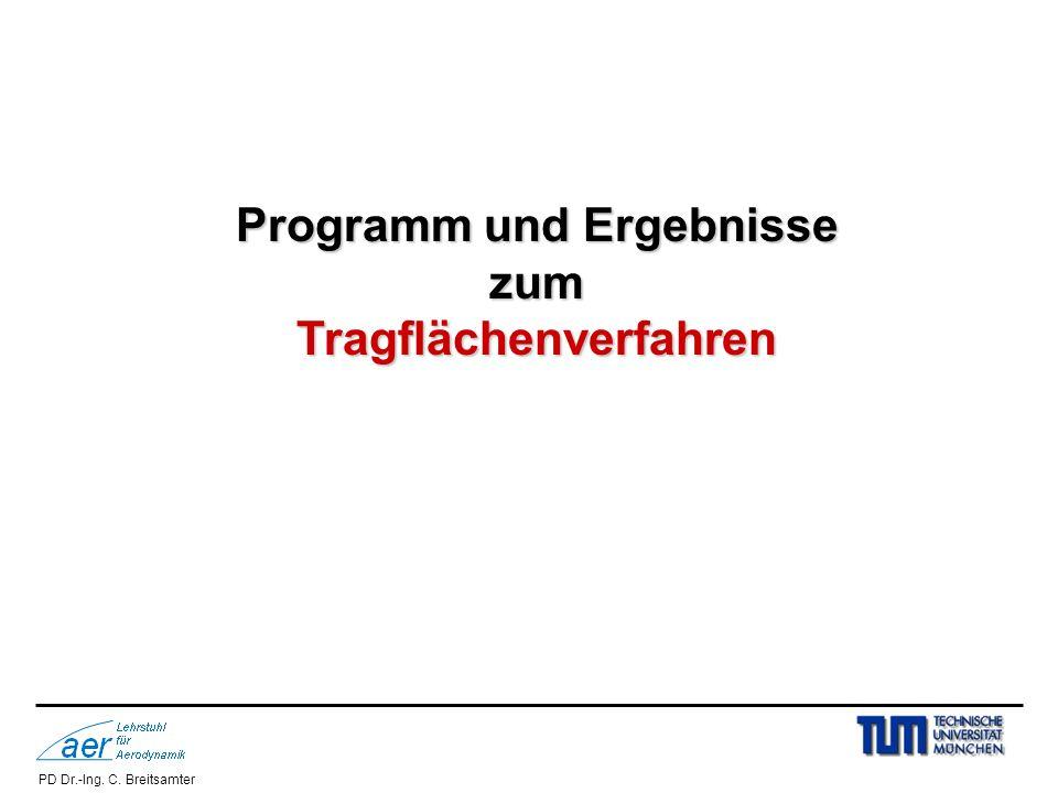PD Dr.-Ing. C. Breitsamter Programm und Ergebnisse zumTragflächenverfahren