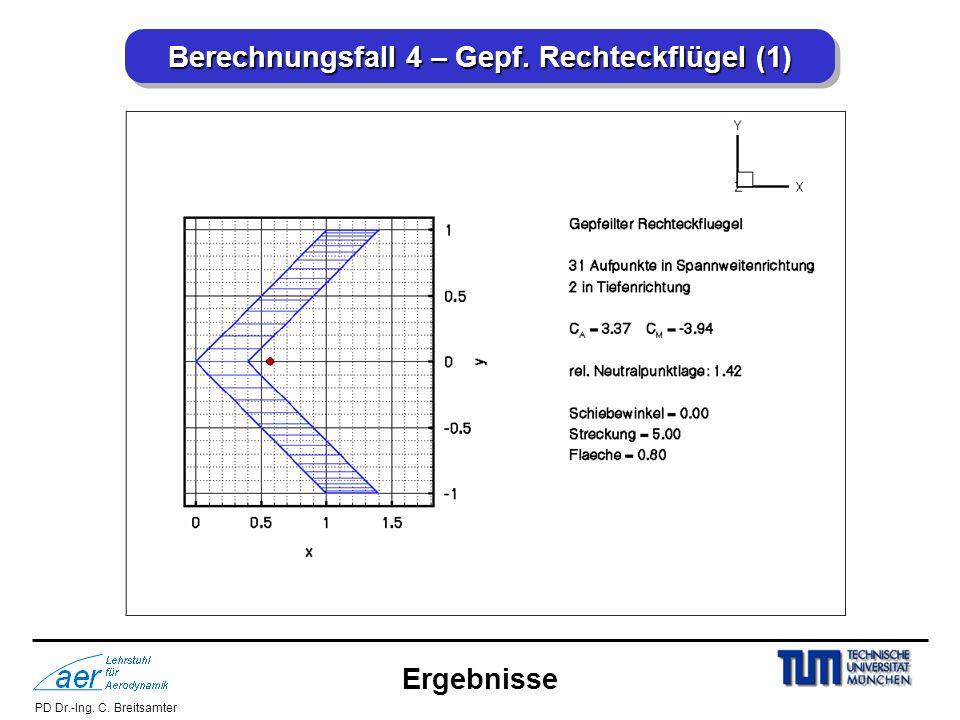 PD Dr.-Ing. C. Breitsamter Berechnungsfall 4 – Gepf. Rechteckflügel (1) Ergebnisse