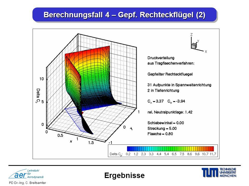 PD Dr.-Ing. C. Breitsamter Berechnungsfall 4 – Gepf. Rechteckflügel (2) Ergebnisse