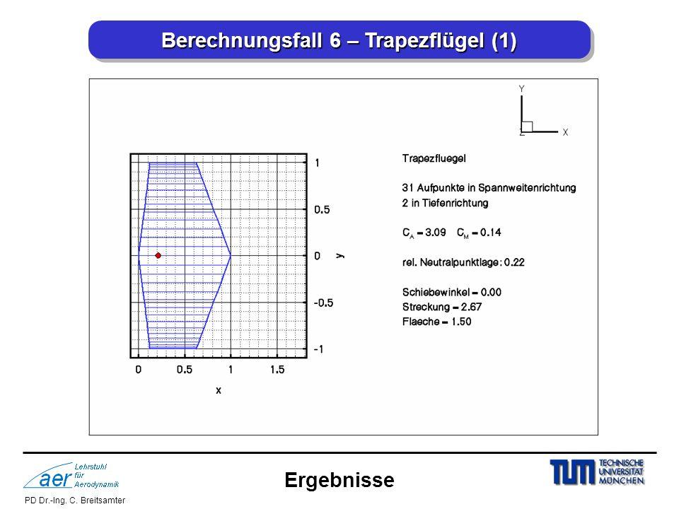 PD Dr.-Ing. C. Breitsamter Berechnungsfall 6 – Trapezflügel (1) Ergebnisse