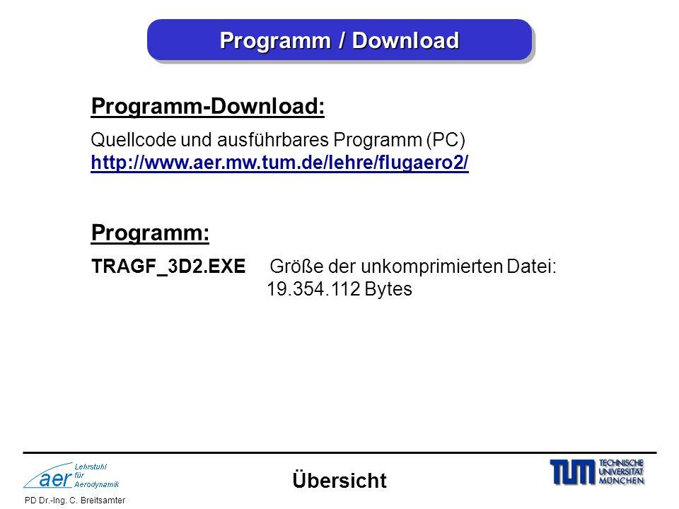 PD Dr.-Ing. C. Breitsamter Programm / Download Programm-Download: Quellcode und ausführbares Programm (PC) http://www.aer.mw.tum.de/lehre/flugaero2/ P