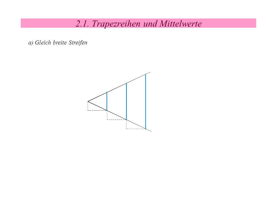 2.1. Trapezreihen und Mittelwerte a) Gleich breite Streifen