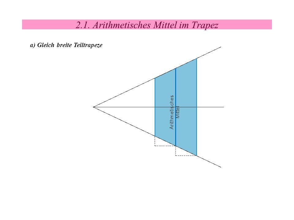 2.1. Arithmetisches Mittel im Trapez a) Gleich breite Teiltrapeze