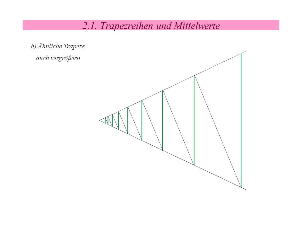 2.1. Trapezreihen und Mittelwerte b) Ähnliche Trapeze auch vergrößern