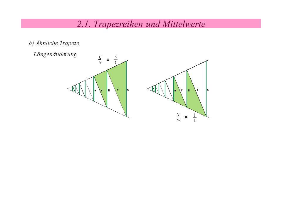 2.1. Trapezreihen und Mittelwerte b) Ähnliche Trapeze Längenänderung