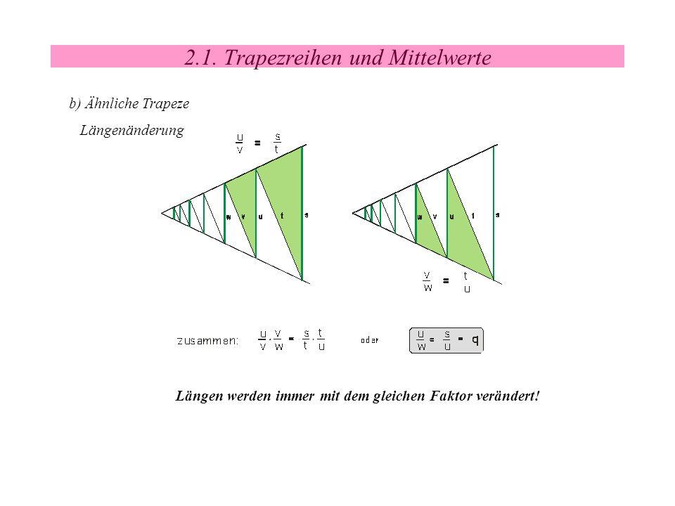 2.1. Trapezreihen und Mittelwerte b) Ähnliche Trapeze Längenänderung Längen werden immer mit dem gleichen Faktor verändert!