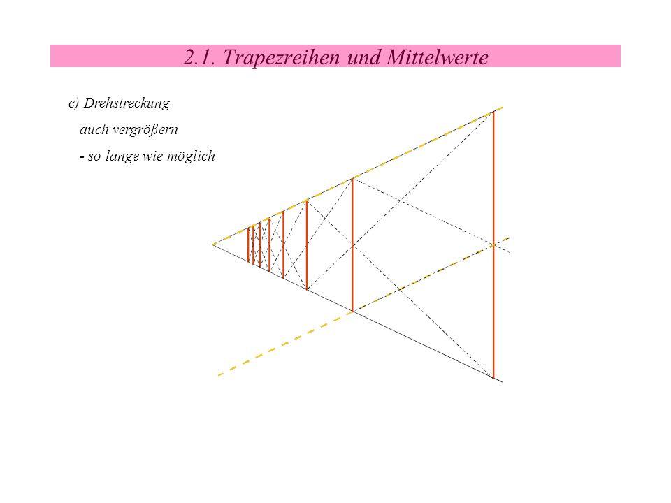 2.1. Trapezreihen und Mittelwerte c) Drehstreckung auch vergrößern - so lange wie möglich