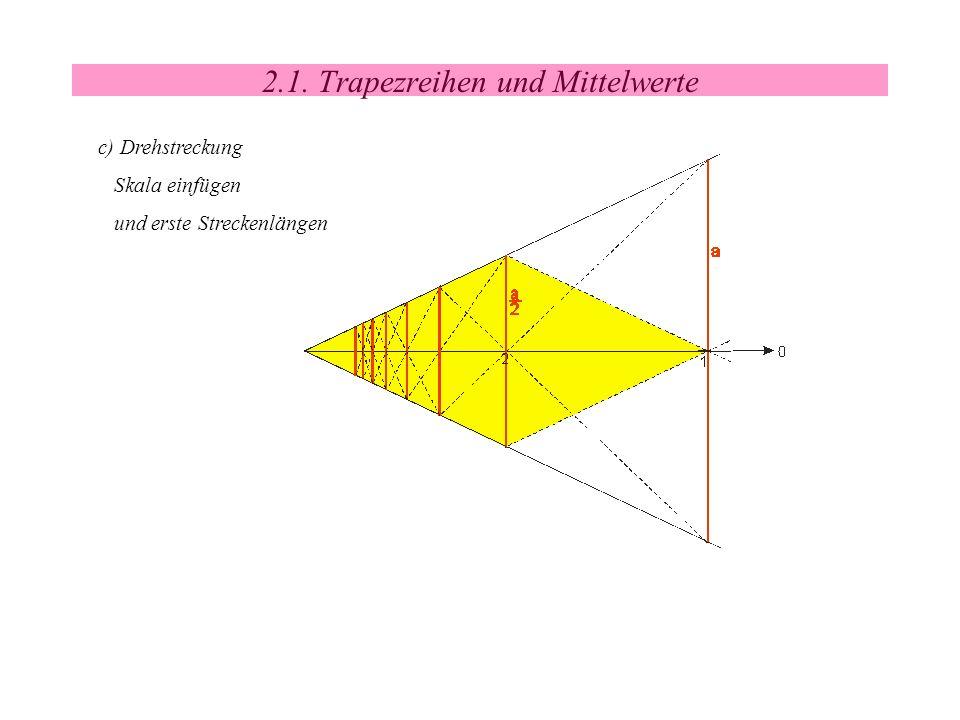 2.1. Trapezreihen und Mittelwerte c) Drehstreckung Skala einfügen und erste Streckenlängen