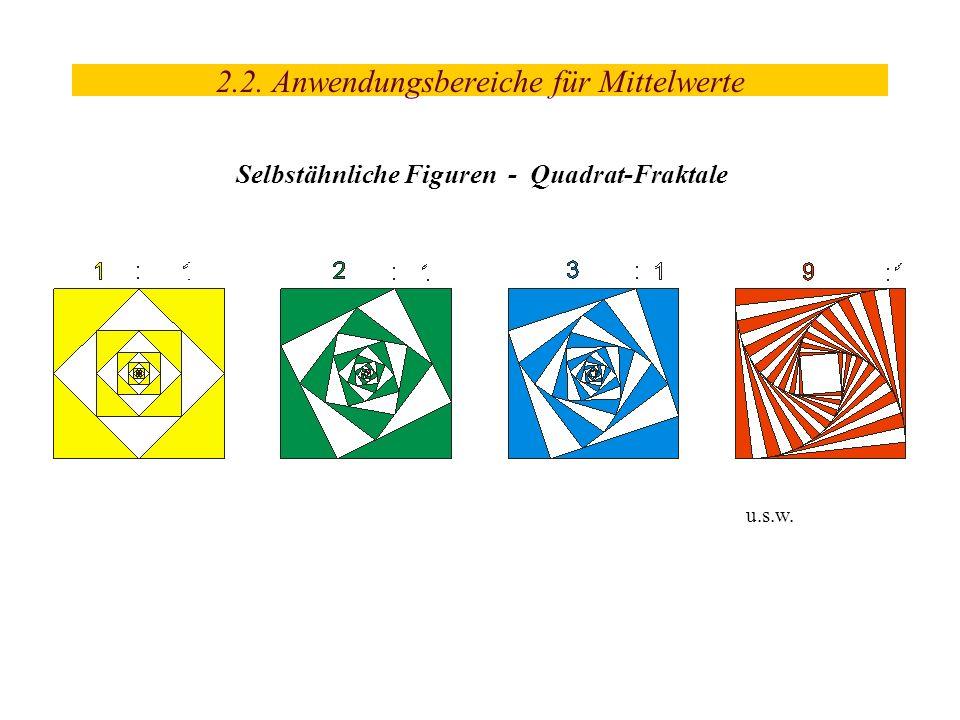 u.s.w. 2.2. Anwendungsbereiche für Mittelwerte Selbstähnliche Figuren - Quadrat-Fraktale