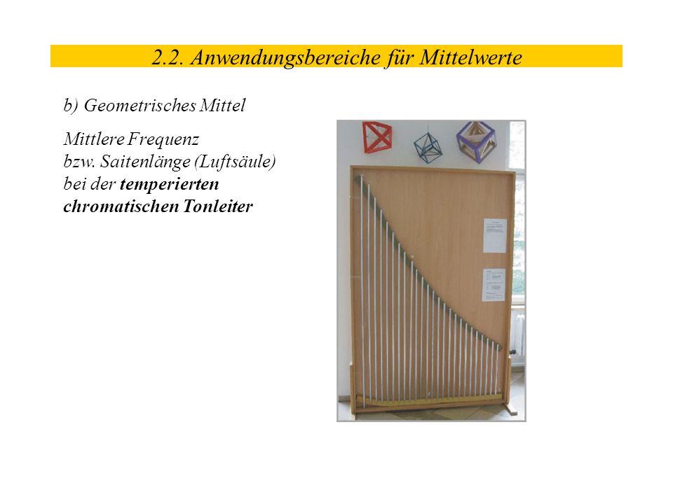 b) Geometrisches Mittel Mittlere Frequenz bzw. Saitenlänge (Luftsäule) bei der temperierten chromatischen Tonleiter 2.2. Anwendungsbereiche für Mittel