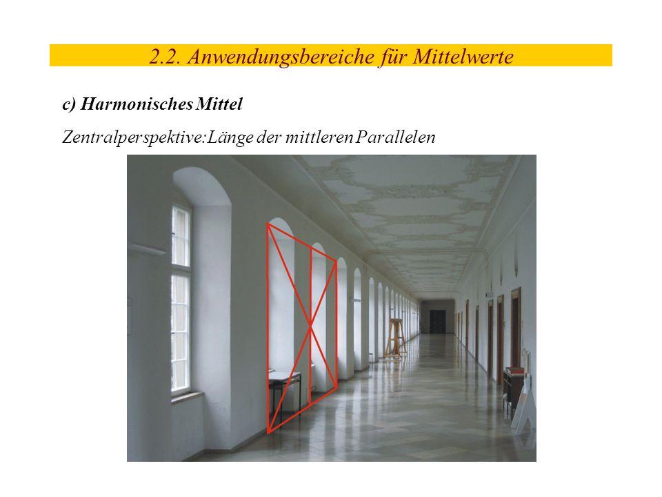 2.2. Anwendungsbereiche für Mittelwerte c) Harmonisches Mittel Zentralperspektive:Länge der mittleren Parallelen