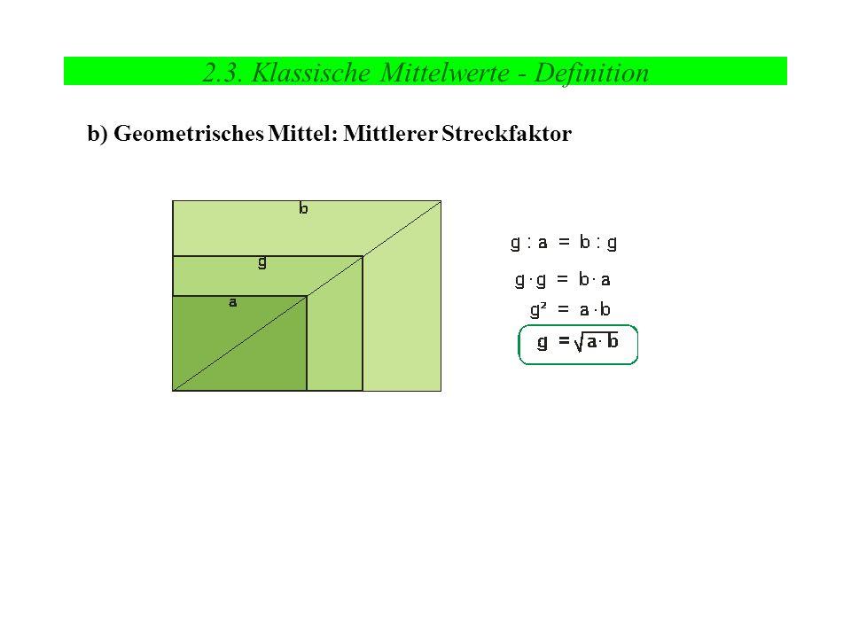 2.3. Klassische Mittelwerte - Definition b) Geometrisches Mittel: Mittlerer Streckfaktor