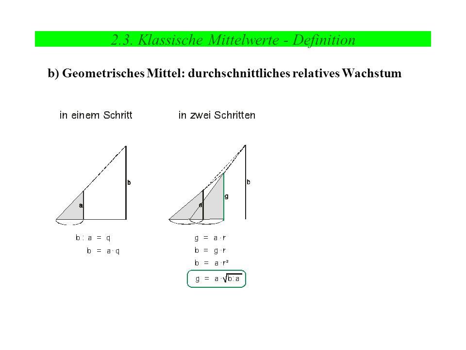 2.3. Klassische Mittelwerte - Definition b) Geometrisches Mittel: durchschnittliches relatives Wachstum