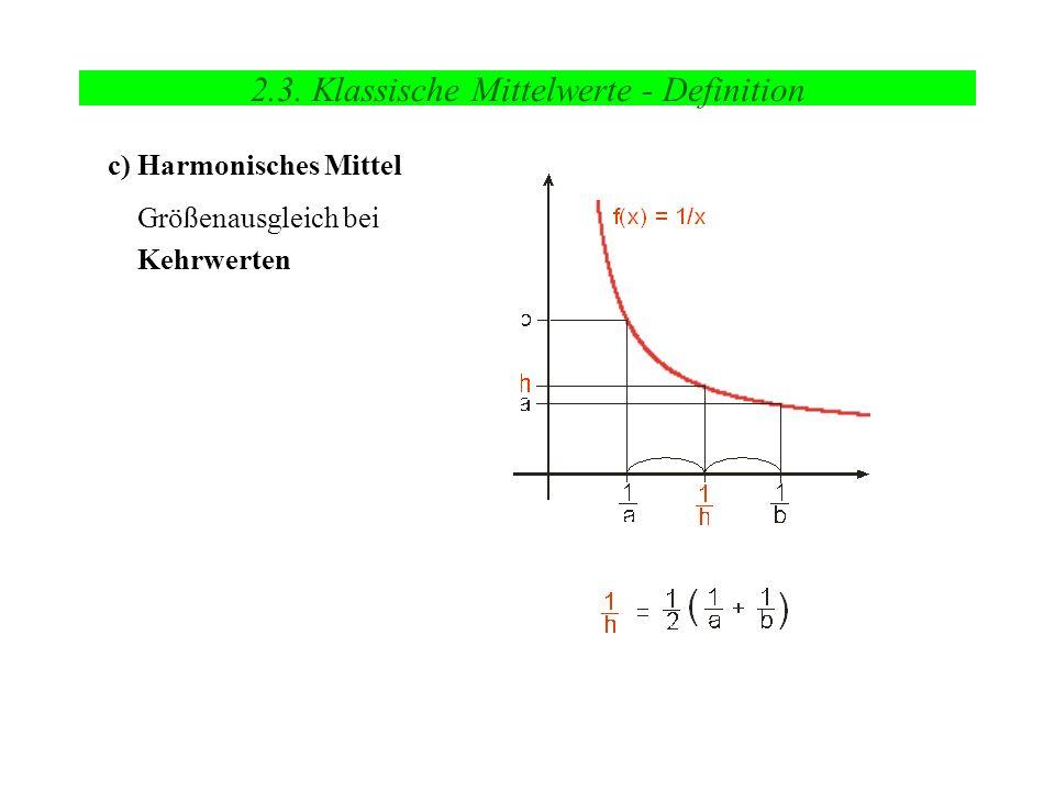 2.3. Klassische Mittelwerte - Definition c) Harmonisches Mittel Größenausgleich bei Kehrwerten