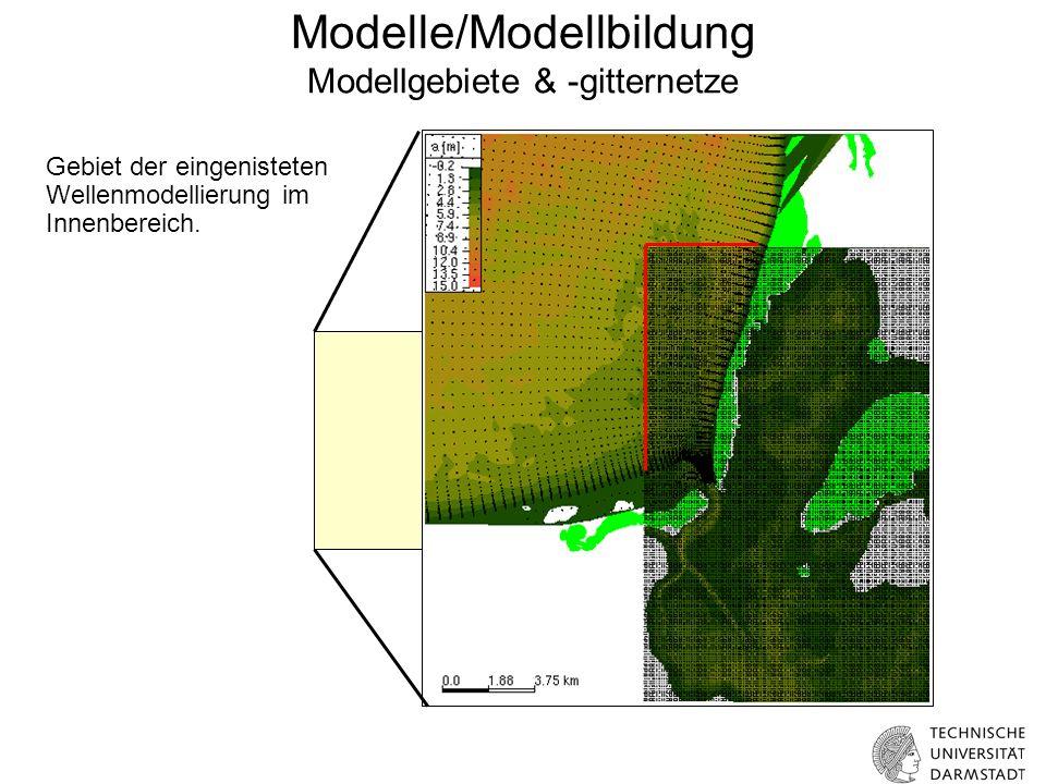 Modelle/Modellbildung Modellgebiete & -gitternetze FEM-Netz: 25000 Knoten Feinste Auflösung: 20m Gebiet der eingenisteten Wellenmodellierung im Innenbereich.