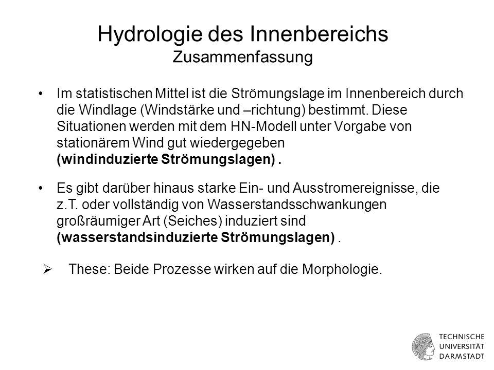 Hydrologie des Innenbereichs Zusammenfassung Im statistischen Mittel ist die Strömungslage im Innenbereich durch die Windlage (Windstärke und –richtung) bestimmt.
