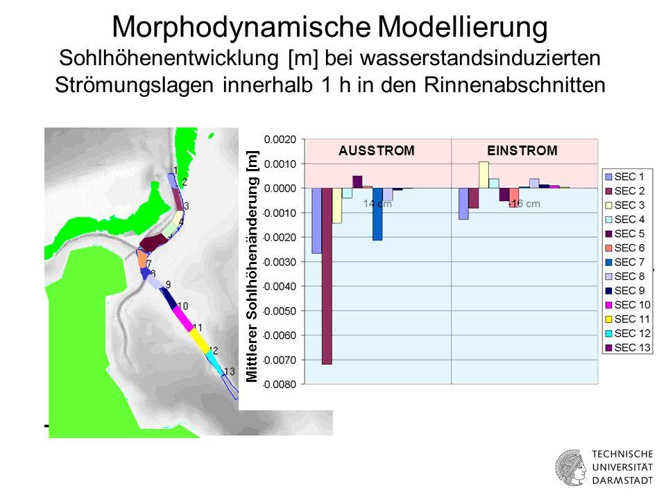 Morphodynamische Modellierung Sohlhöhenentwicklung [m] bei wasserstandsinduzierten Strömungslagen innerhalb 1 h in den Rinnenabschnitten Mittlerer Sohlhöhenänderung [m] AUSSTROMEINSTROM
