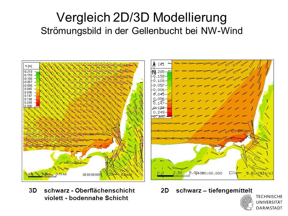 Vergleich 2D/3D Modellierung Strömungsbild in der Gellenbucht bei NW-Wind 3D schwarz - Oberflächenschicht violett - bodennahe Schicht 2D schwarz – tiefengemittelt