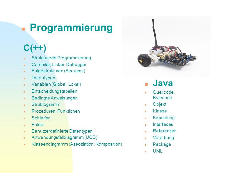 C(++) Strukturierte Programmierung Compiler, Linker, Debugger Folgestrukturen (Sequenz) Datentypen Variablen (Global, Lokal) Entscheidungstabellen Bed